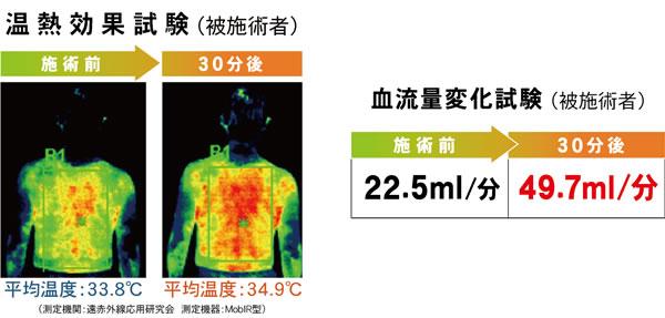 エナジーテラピー後の温熱効果試験